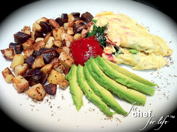 GF Spinach-Ham Omelet with Thyme Country-Fried Potatoes side of sliced ...